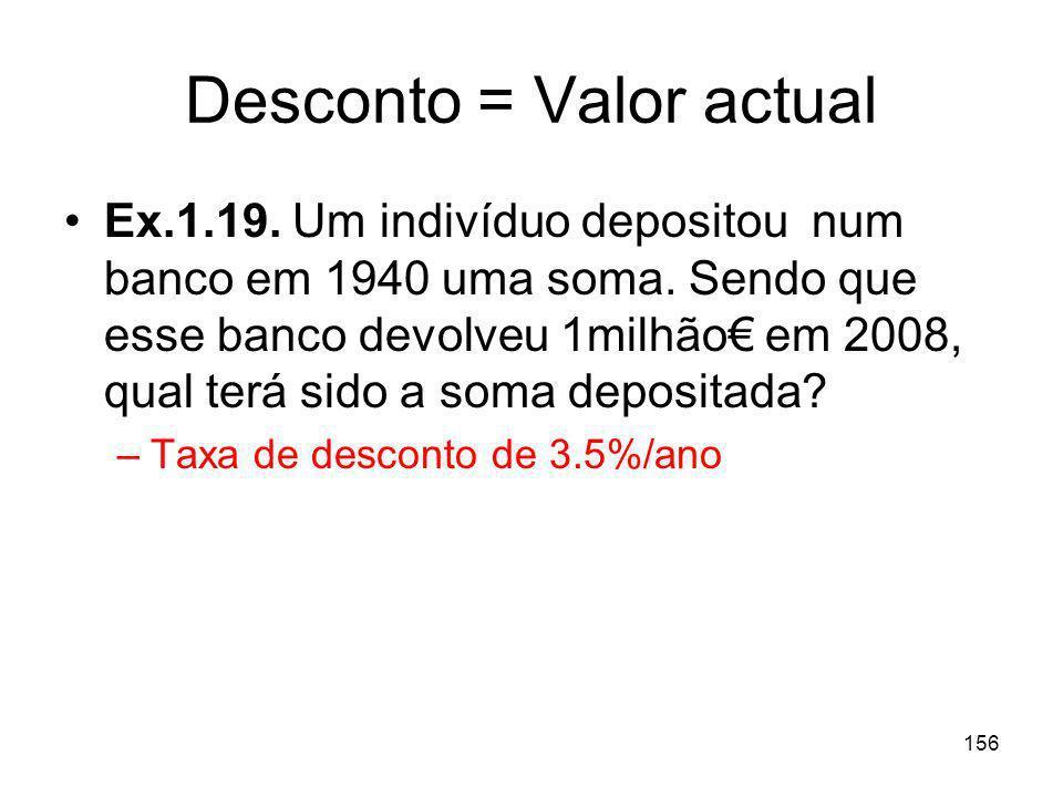 156 Desconto = Valor actual Ex.1.19. Um indivíduo depositou num banco em 1940 uma soma. Sendo que esse banco devolveu 1milhão em 2008, qual terá sido