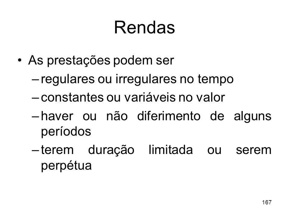 167 Rendas As prestações podem ser –regulares ou irregulares no tempo –constantes ou variáveis no valor –haver ou não diferimento de alguns períodos –