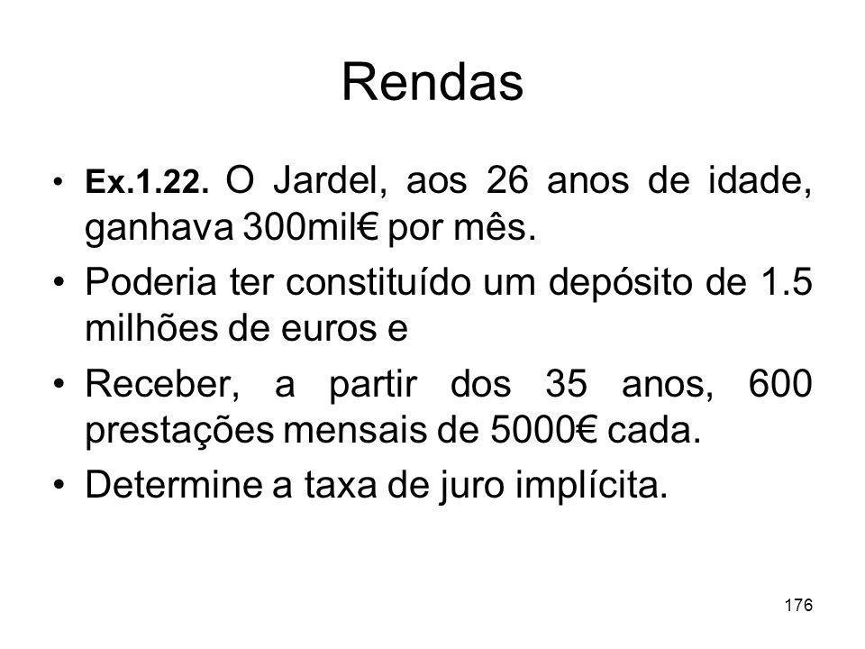 176 Rendas Ex.1.22. O Jardel, aos 26 anos de idade, ganhava 300mil por mês. Poderia ter constituído um depósito de 1.5 milhões de euros e Receber, a p