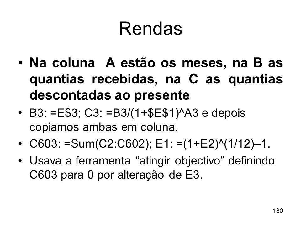 180 Rendas Na coluna A estão os meses, na B as quantias recebidas, na C as quantias descontadas ao presente B3: =E$3; C3: =B3/(1+$E$1)^A3 e depois cop