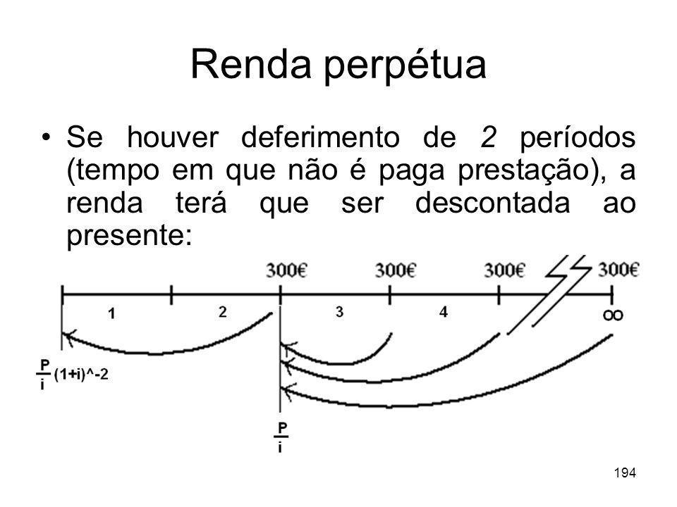 194 Renda perpétua Se houver deferimento de 2 períodos (tempo em que não é paga prestação), a renda terá que ser descontada ao presente: