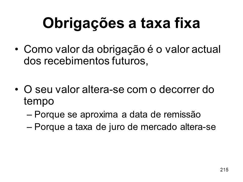 215 Obrigações a taxa fixa Como valor da obrigação é o valor actual dos recebimentos futuros, O seu valor altera-se com o decorrer do tempo –Porque se