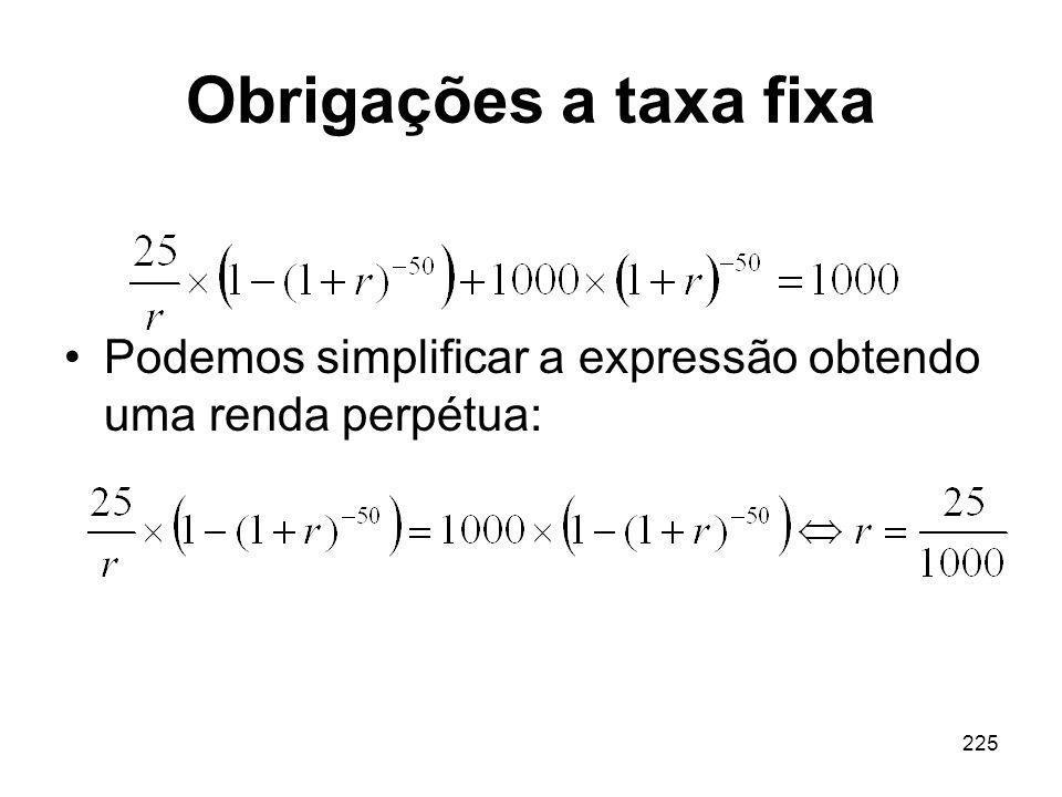 225 Obrigações a taxa fixa Podemos simplificar a expressão obtendo uma renda perpétua:
