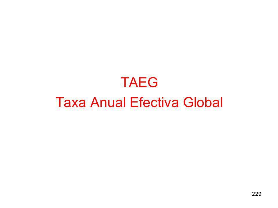 TAEG Taxa Anual Efectiva Global 229