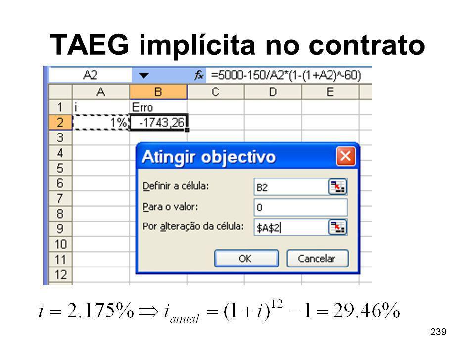 239 TAEG implícita no contrato
