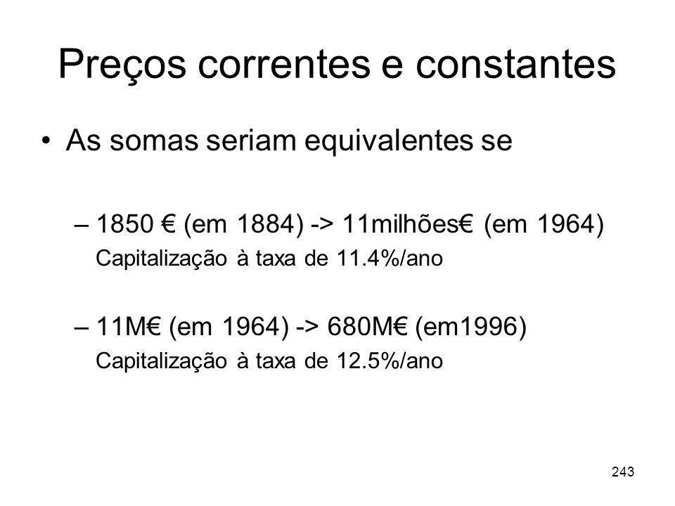243 Preços correntes e constantes As somas seriam equivalentes se –1850 (em 1884) -> 11milhões (em 1964) Capitalização à taxa de 11.4%/ano –11M (em 19
