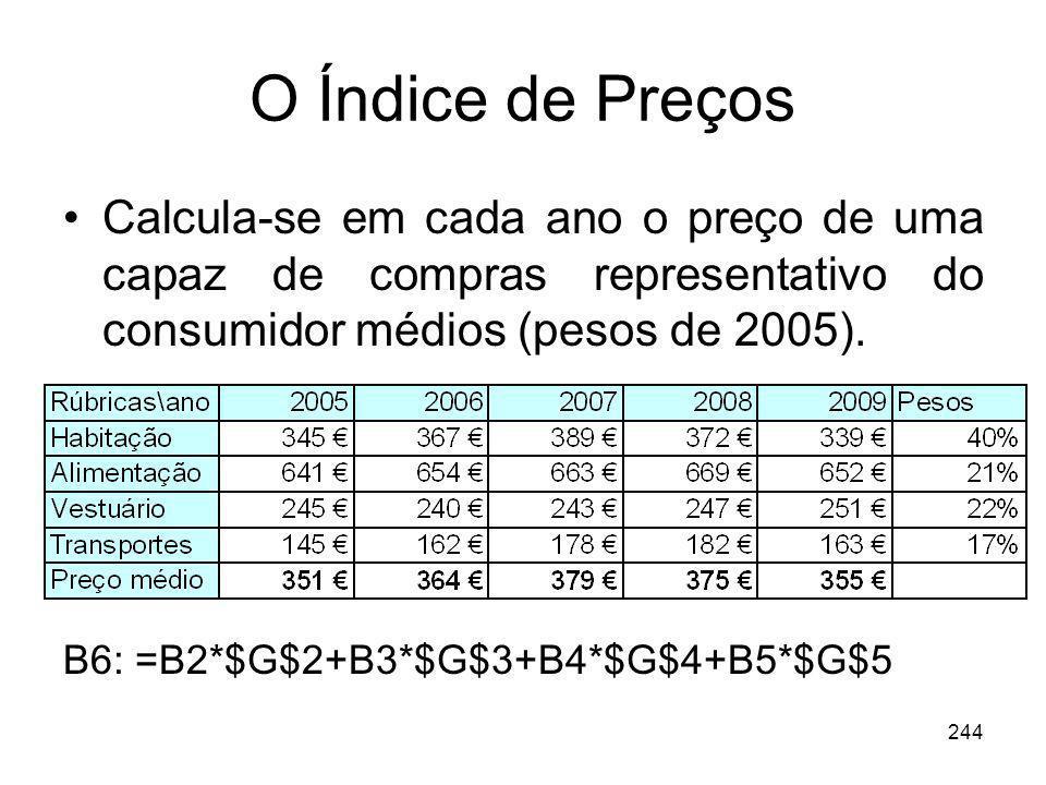 244 O Índice de Preços Calcula-se em cada ano o preço de uma capaz de compras representativo do consumidor médios (pesos de 2005). B6: =B2*$G$2+B3*$G$