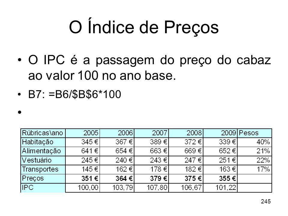 245 O Índice de Preços O IPC é a passagem do preço do cabaz ao valor 100 no ano base. B7: =B6/$B$6*100