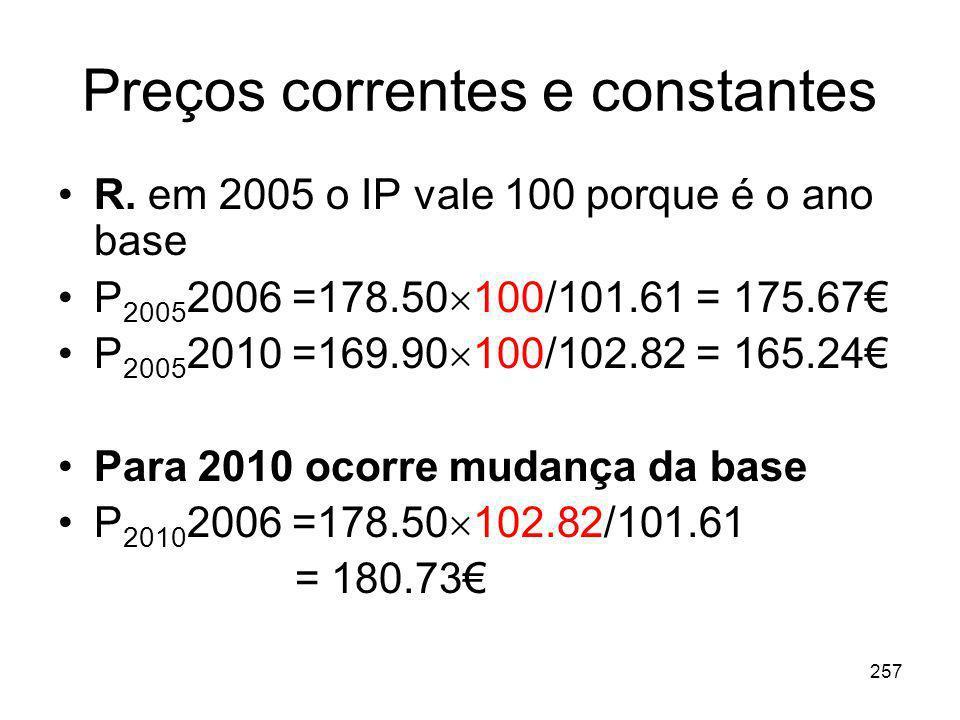 257 Preços correntes e constantes R. em 2005 o IP vale 100 porque é o ano base P 2005 2006 =178.50 100/101.61 = 175.67 P 2005 2010 =169.90 100/102.82