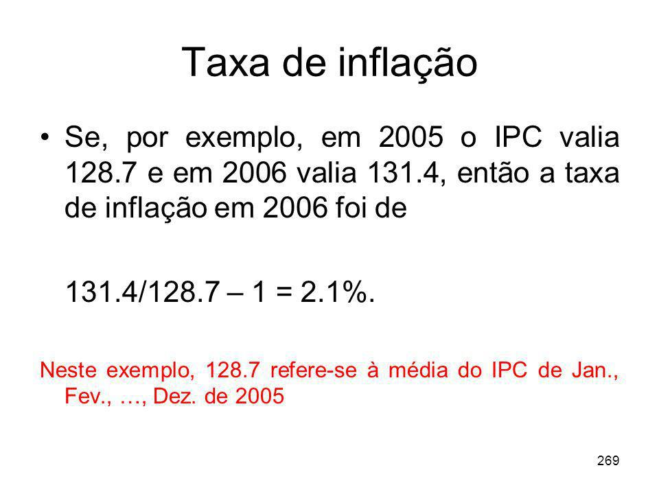 269 Taxa de inflação Se, por exemplo, em 2005 o IPC valia 128.7 e em 2006 valia 131.4, então a taxa de inflação em 2006 foi de 131.4/128.7 – 1 = 2.1%.