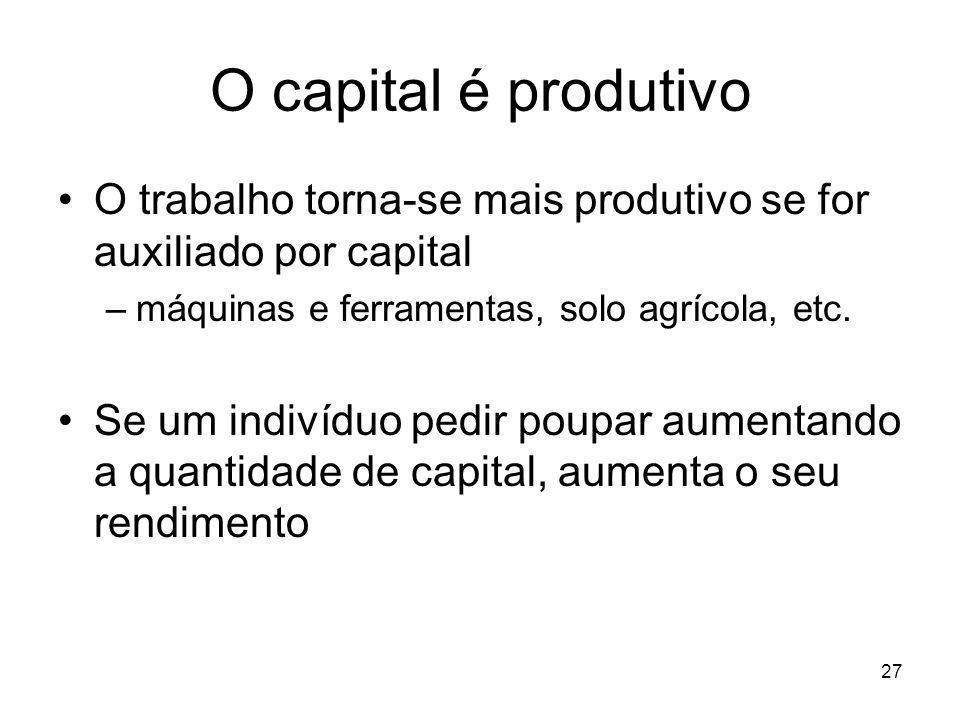 27 O capital é produtivo O trabalho torna-se mais produtivo se for auxiliado por capital –máquinas e ferramentas, solo agrícola, etc. Se um indivíduo