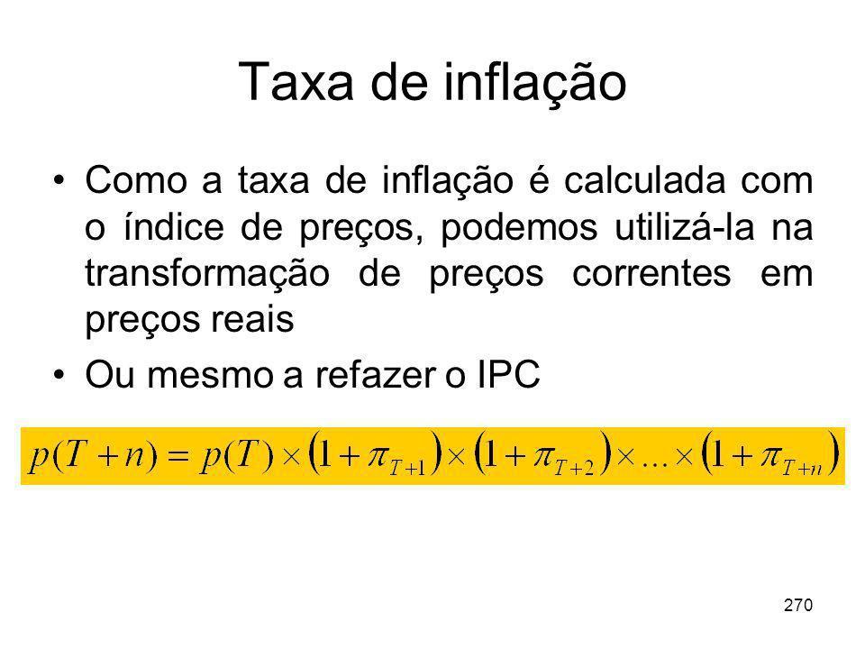 270 Taxa de inflação Como a taxa de inflação é calculada com o índice de preços, podemos utilizá-la na transformação de preços correntes em preços rea