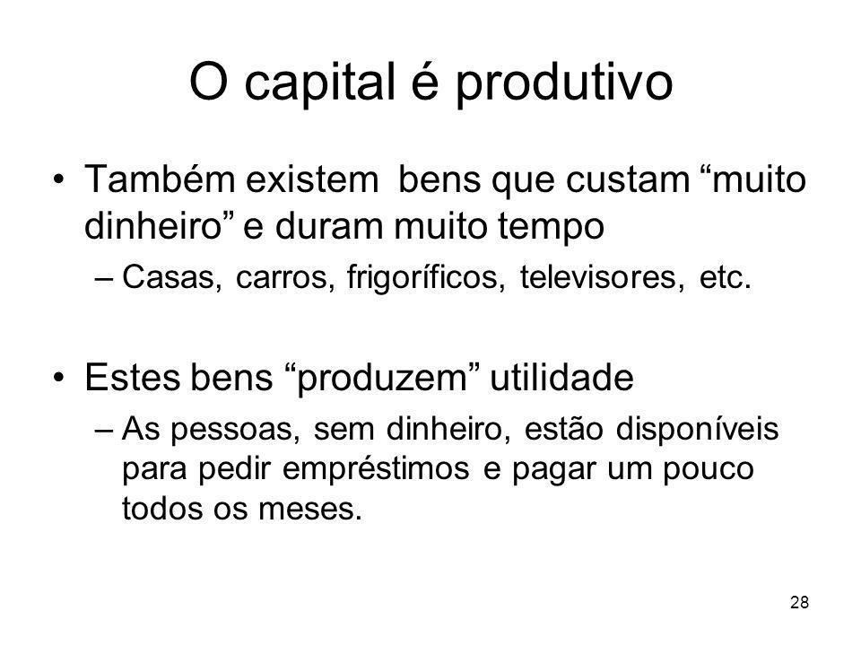 28 O capital é produtivo Também existem bens que custam muito dinheiro e duram muito tempo –Casas, carros, frigoríficos, televisores, etc. Estes bens