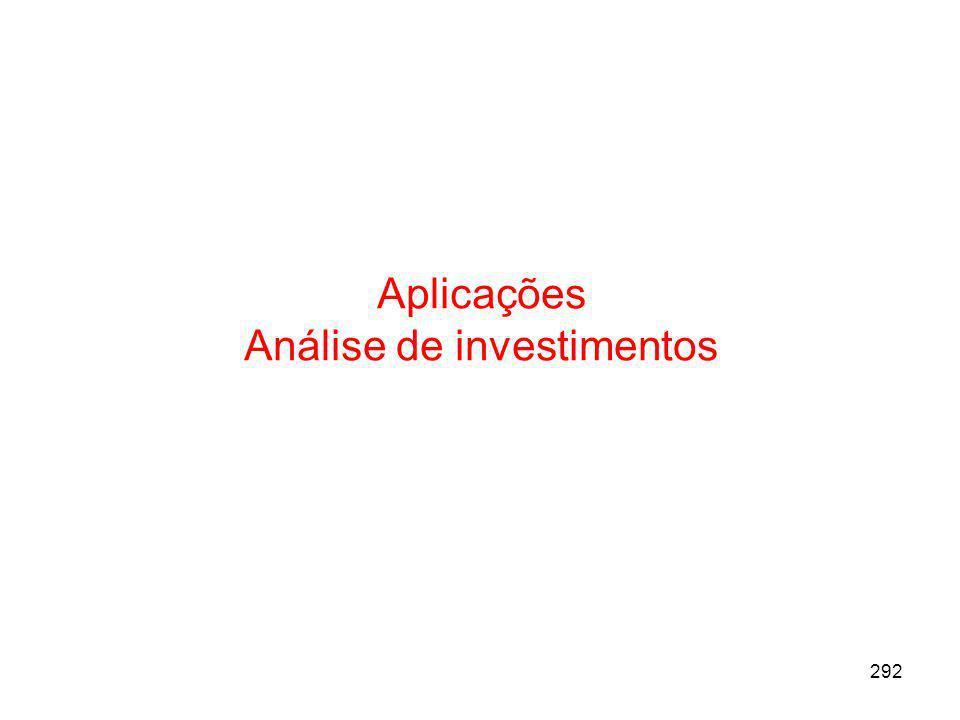 292 Aplicações Análise de investimentos