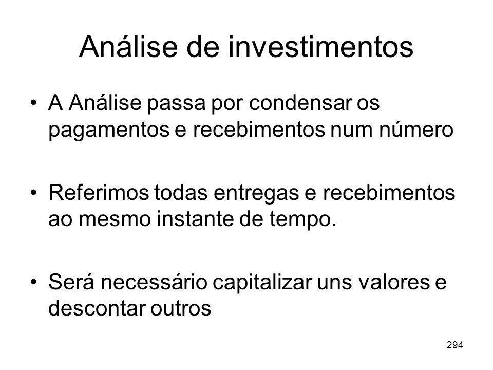 294 Análise de investimentos A Análise passa por condensar os pagamentos e recebimentos num número Referimos todas entregas e recebimentos ao mesmo in