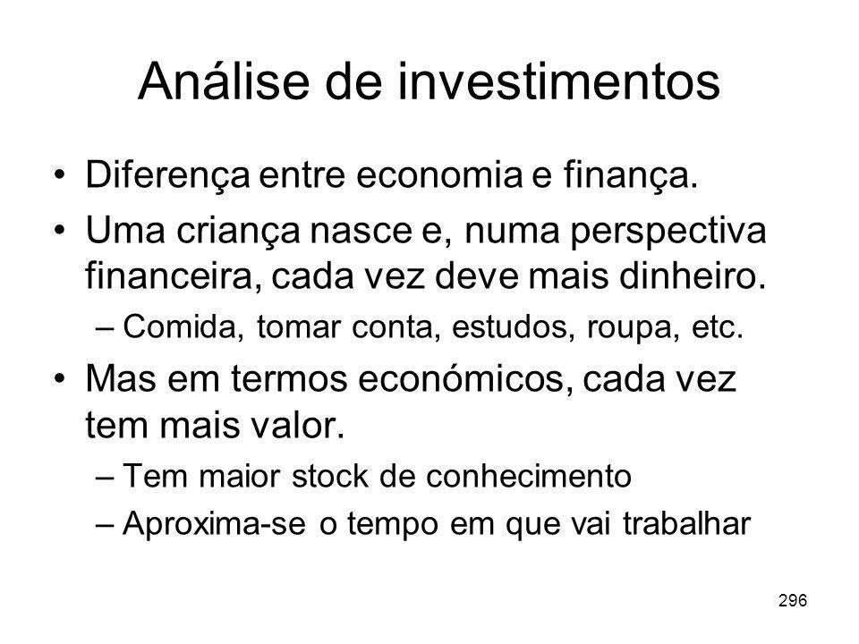 296 Análise de investimentos Diferença entre economia e finança. Uma criança nasce e, numa perspectiva financeira, cada vez deve mais dinheiro. –Comid