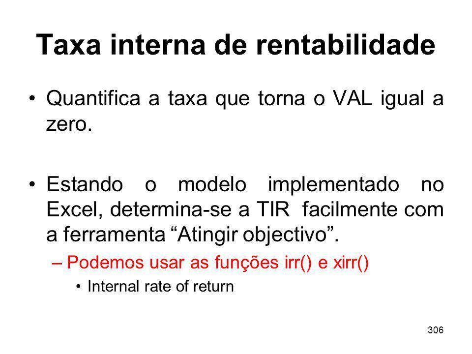 306 Taxa interna de rentabilidade Quantifica a taxa que torna o VAL igual a zero. Estando o modelo implementado no Excel, determina-se a TIR facilment