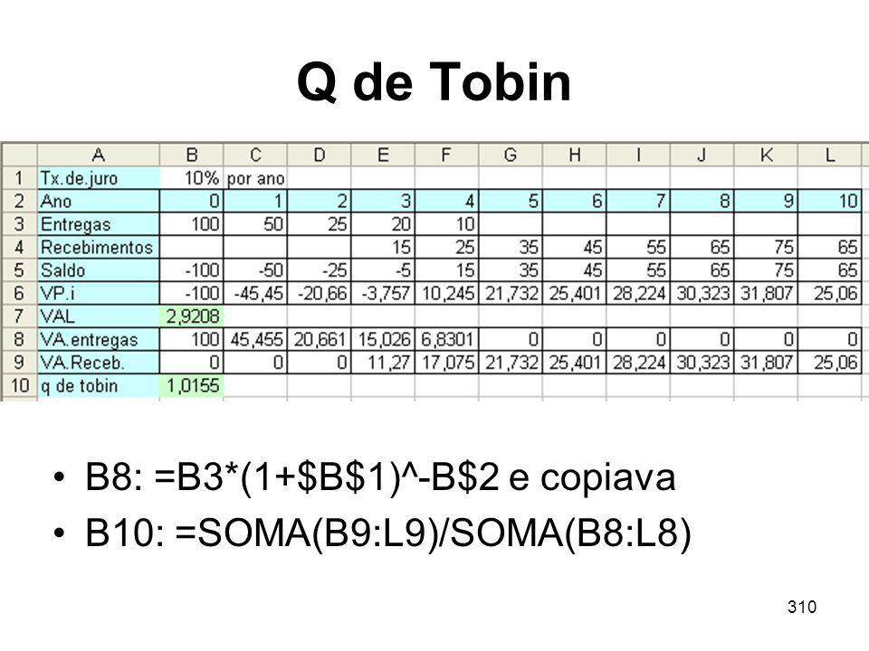 310 Q de Tobin B8: =B3*(1+$B$1)^-B$2 e copiava B10: =SOMA(B9:L9)/SOMA(B8:L8)