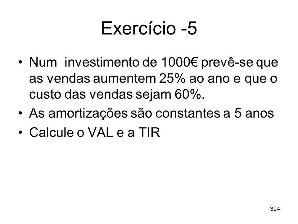 324 Exercício -5 Num investimento de 1000 prevê-se que as vendas aumentem 25% ao ano e que o custo das vendas sejam 60%. As amortizações são constante