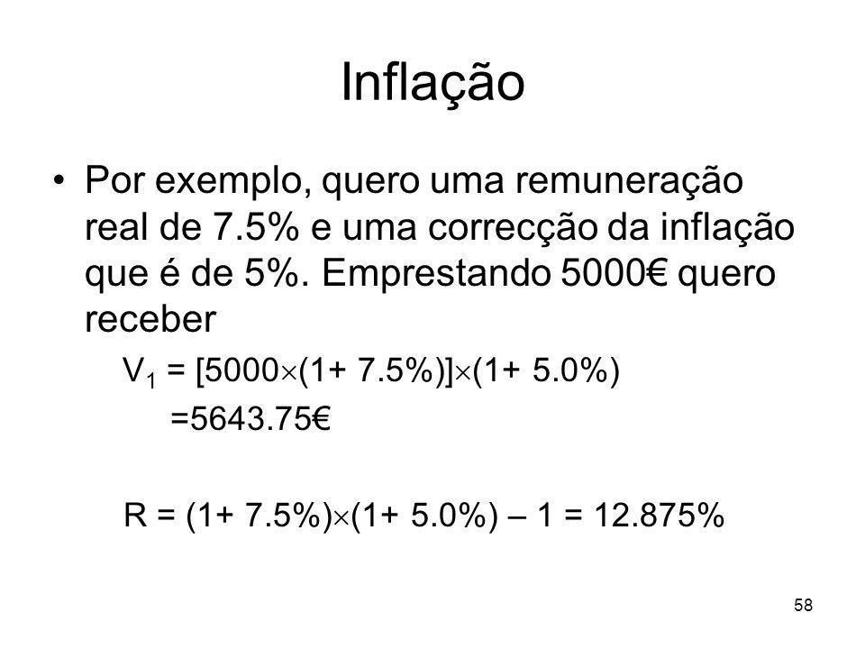 58 Inflação Por exemplo, quero uma remuneração real de 7.5% e uma correcção da inflação que é de 5%. Emprestando 5000 quero receber V 1 = [5000 (1+ 7.