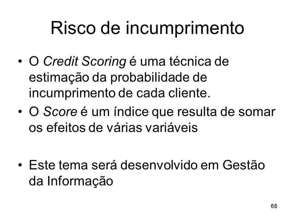 68 Risco de incumprimento O Credit Scoring é uma técnica de estimação da probabilidade de incumprimento de cada cliente. O Score é um índice que resul