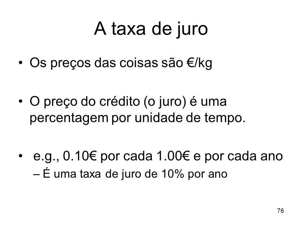 76 A taxa de juro Os preços das coisas são /kg O preço do crédito (o juro) é uma percentagem por unidade de tempo. e.g., 0.10 por cada 1.00 e por cada