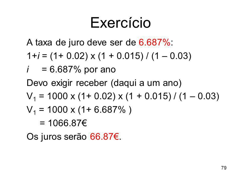 79 Exercício A taxa de juro deve ser de 6.687%: 1+i = (1+ 0.02) x (1 + 0.015) / (1 – 0.03) i = 6.687% por ano Devo exigir receber (daqui a um ano) V 1