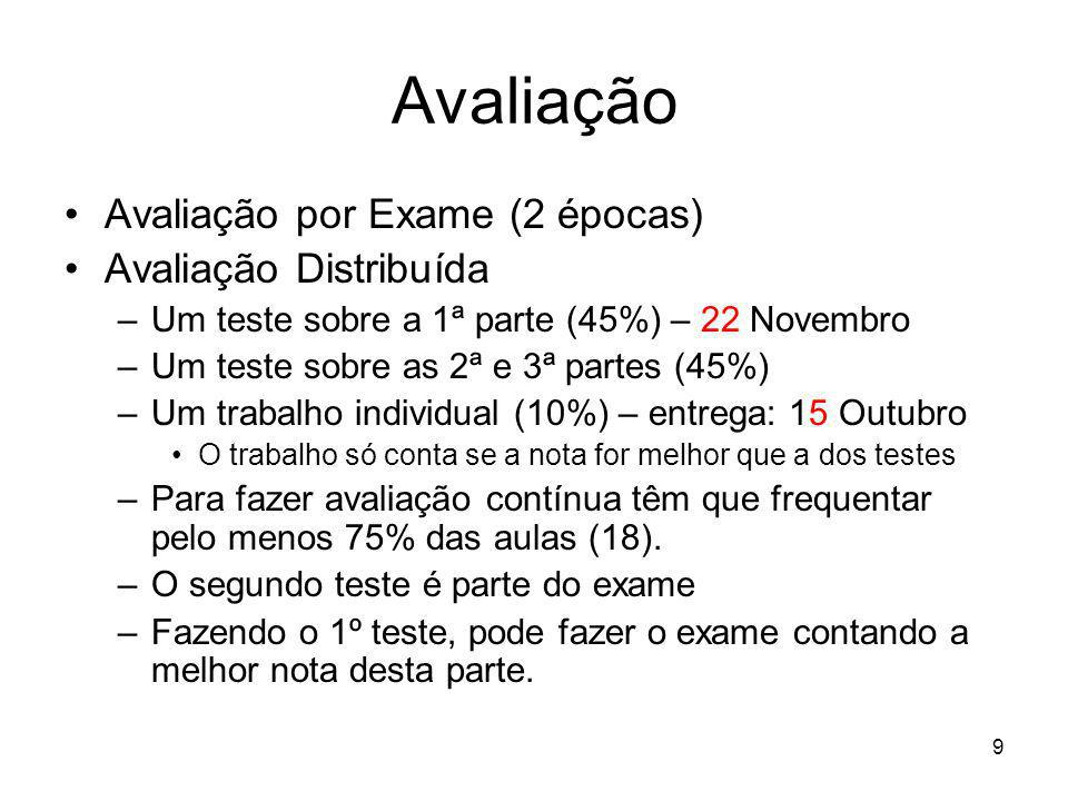 9 Avaliação por Exame (2 épocas) Avaliação Distribuída –Um teste sobre a 1ª parte (45%) – 22 Novembro –Um teste sobre as 2ª e 3ª partes (45%) –Um trab