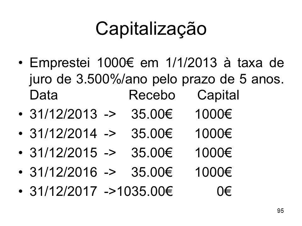 95 Capitalização Emprestei 1000 em 1/1/2013 à taxa de juro de 3.500%/ano pelo prazo de 5 anos. Data Recebo Capital 31/12/2013 -> 35.00 1000 31/12/2014