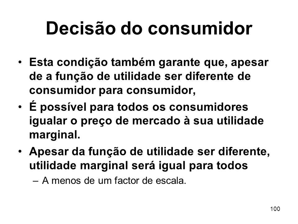 100 Decisão do consumidor Esta condição também garante que, apesar de a função de utilidade ser diferente de consumidor para consumidor, É possível pa