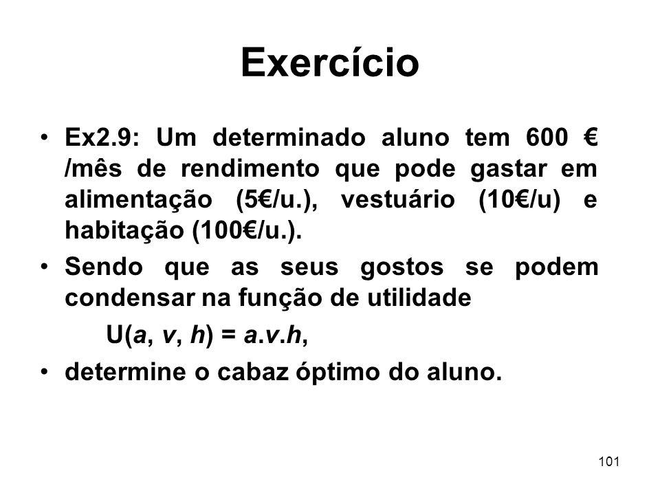 101 Exercício Ex2.9: Um determinado aluno tem 600 /mês de rendimento que pode gastar em alimentação (5/u.), vestuário (10/u) e habitação (100/u.). Sen