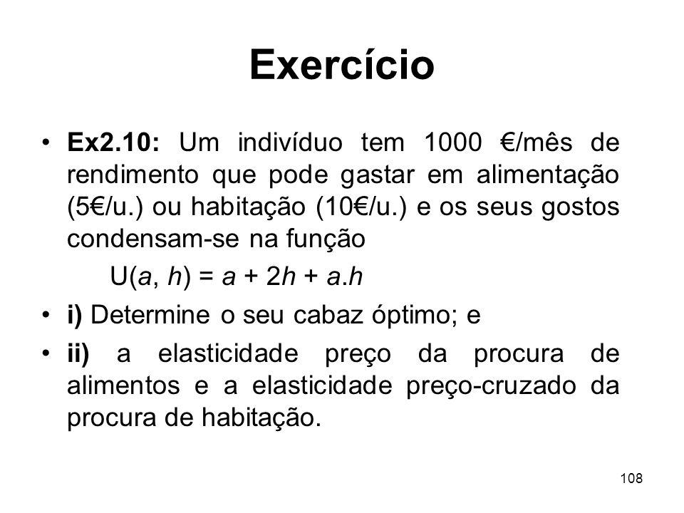 108 Exercício Ex2.10: Um indivíduo tem 1000 /mês de rendimento que pode gastar em alimentação (5/u.) ou habitação (10/u.) e os seus gostos condensam-s