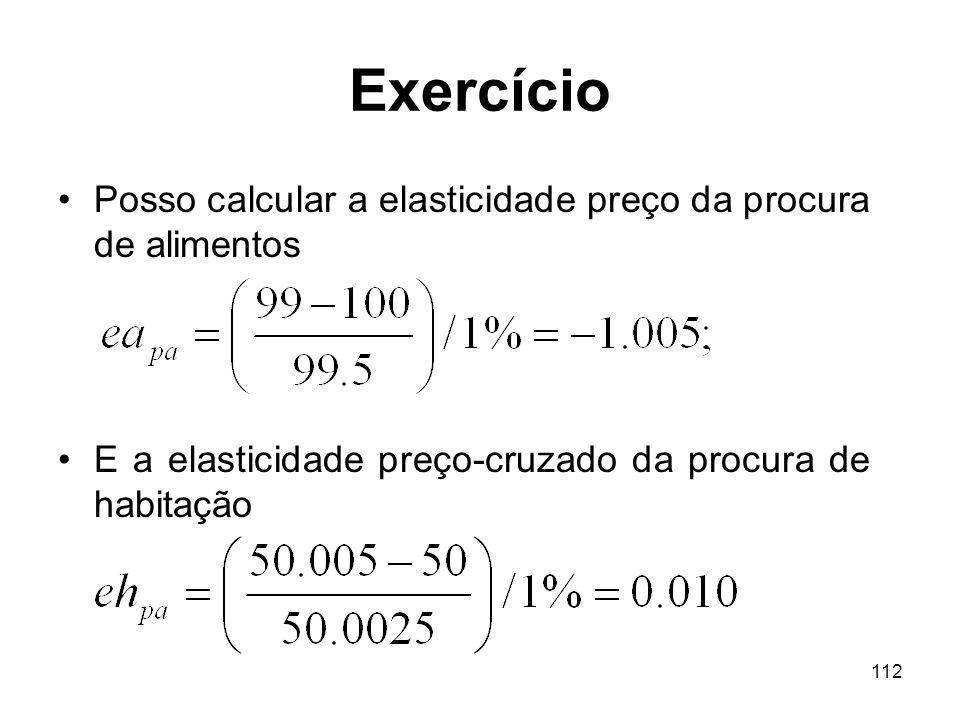 112 Exercício Posso calcular a elasticidade preço da procura de alimentos E a elasticidade preço-cruzado da procura de habitação