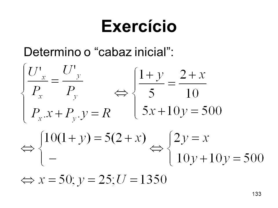 133 Exercício Determino o cabaz inicial: