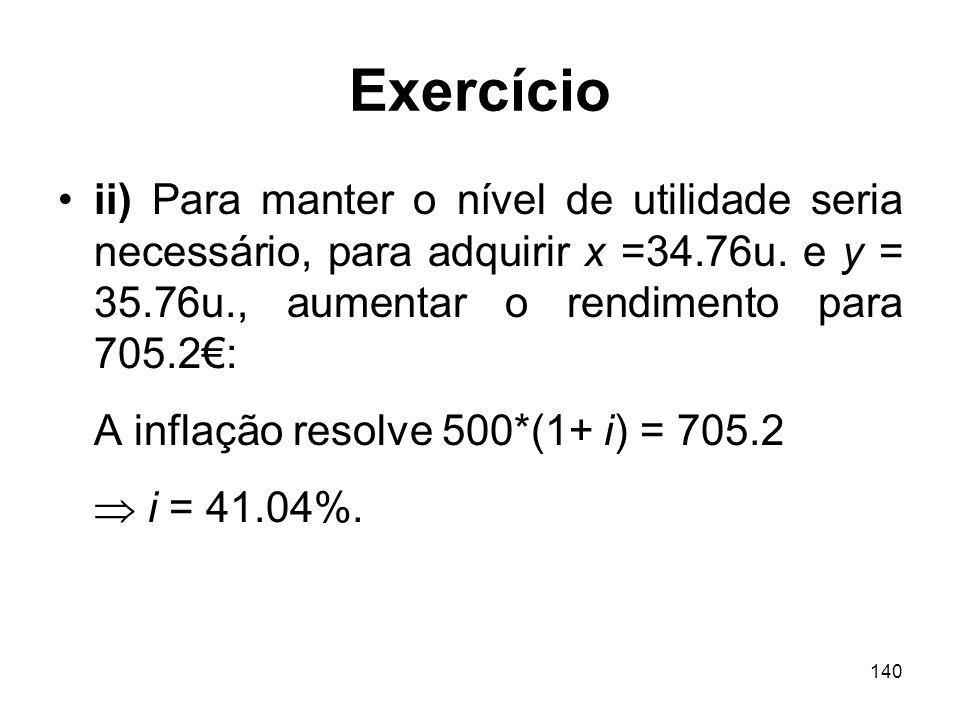 140 Exercício ii) Para manter o nível de utilidade seria necessário, para adquirir x =34.76u. e y = 35.76u., aumentar o rendimento para 705.2: A infla