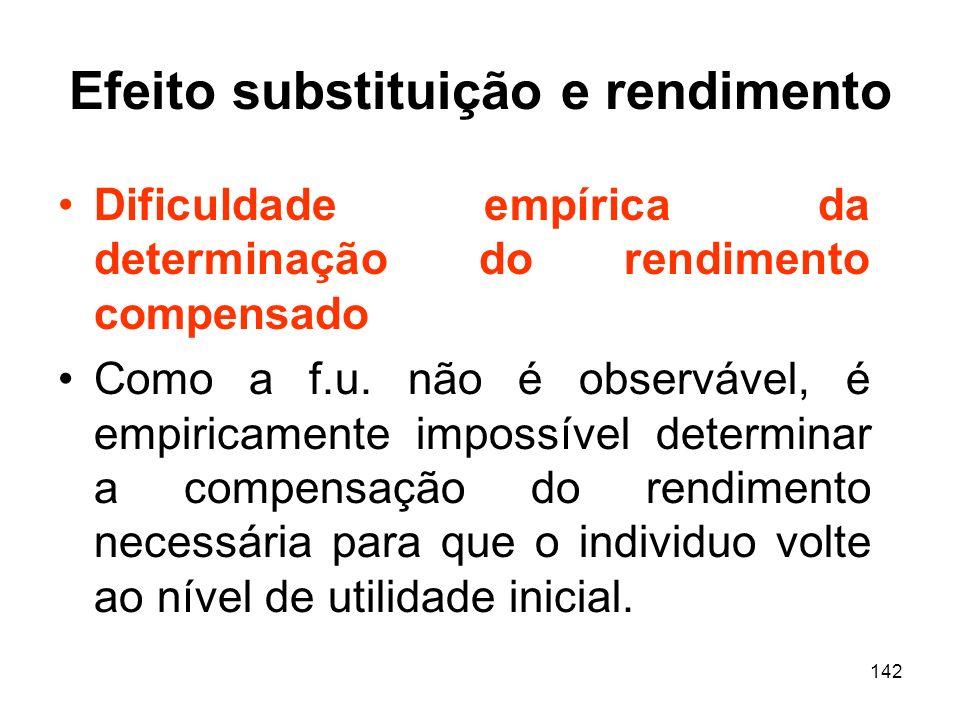 142 Efeito substituição e rendimento Dificuldade empírica da determinação do rendimento compensado Como a f.u. não é observável, é empiricamente impos