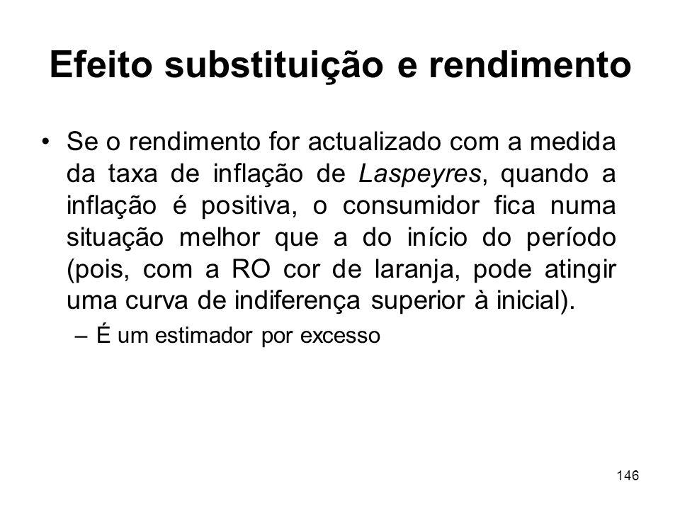 146 Efeito substituição e rendimento Se o rendimento for actualizado com a medida da taxa de inflação de Laspeyres, quando a inflação é positiva, o co