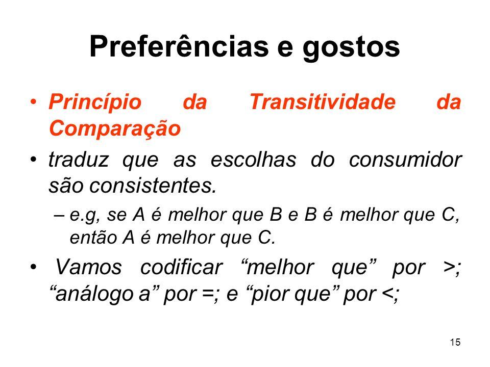 15 Preferências e gostos Princípio da Transitividade da Comparação traduz que as escolhas do consumidor são consistentes. –e.g, se A é melhor que B e