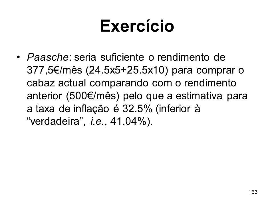 153 Exercício Paasche: seria suficiente o rendimento de 377,5/mês (24.5x5+25.5x10) para comprar o cabaz actual comparando com o rendimento anterior (5