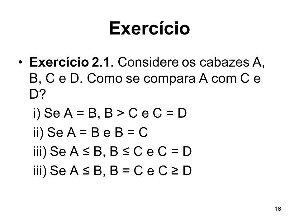 16 Exercício Exercício 2.1. Considere os cabazes A, B, C e D. Como se compara A com C e D? i) Se A = B, B > C e C = D ii) Se A = B e B = C iii) Se A B