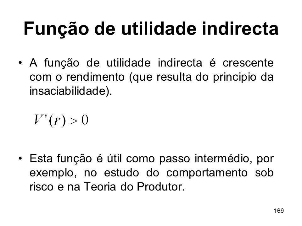 169 Função de utilidade indirecta A função de utilidade indirecta é crescente com o rendimento (que resulta do principio da insaciabilidade). Esta fun
