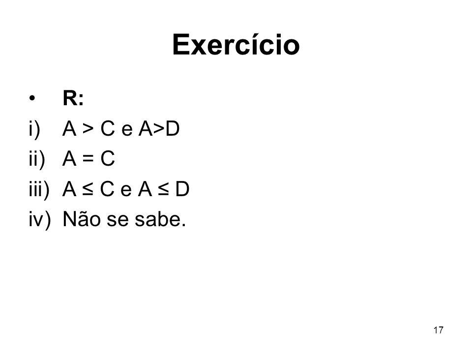17 Exercício R: i)A > C e A>D ii)A = C iii)A C e A D iv)Não se sabe.