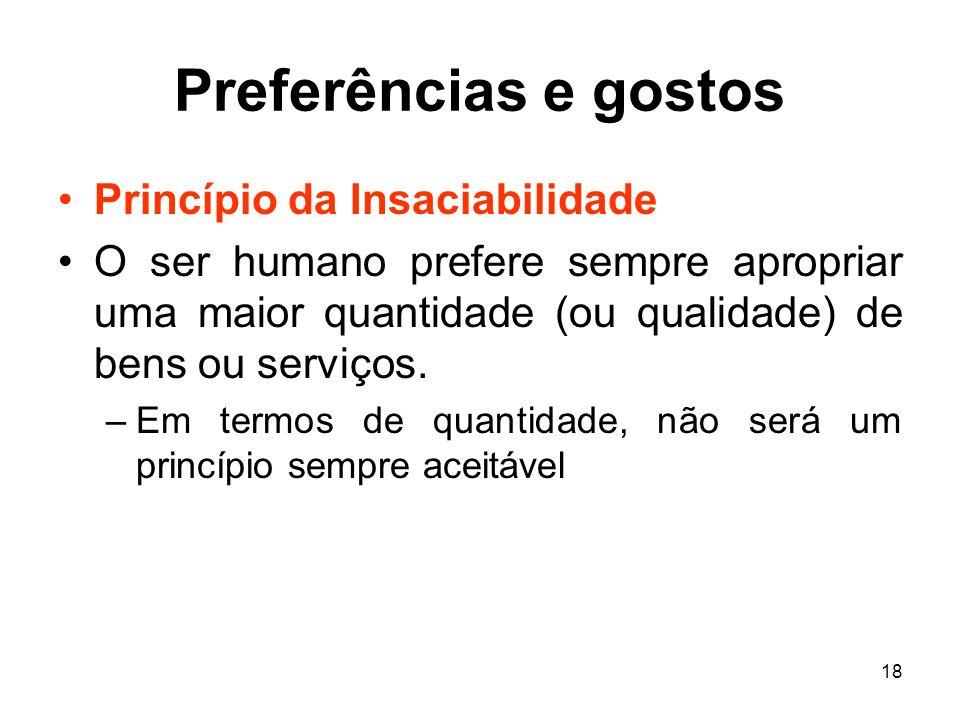 18 Preferências e gostos Princípio da Insaciabilidade O ser humano prefere sempre apropriar uma maior quantidade (ou qualidade) de bens ou serviços. –