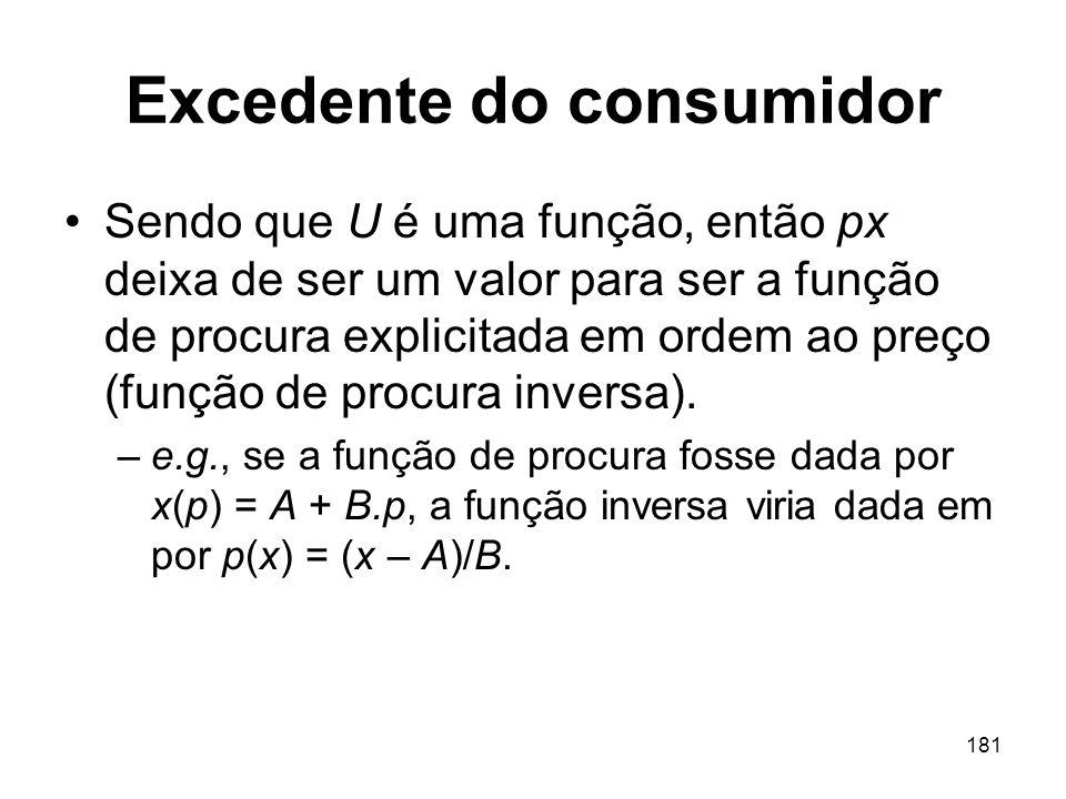 181 Excedente do consumidor Sendo que U é uma função, então px deixa de ser um valor para ser a função de procura explicitada em ordem ao preço (funçã