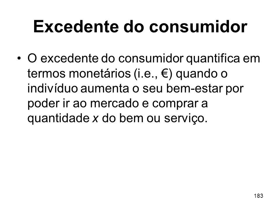 183 Excedente do consumidor O excedente do consumidor quantifica em termos monetários (i.e., ) quando o indivíduo aumenta o seu bem-estar por poder ir