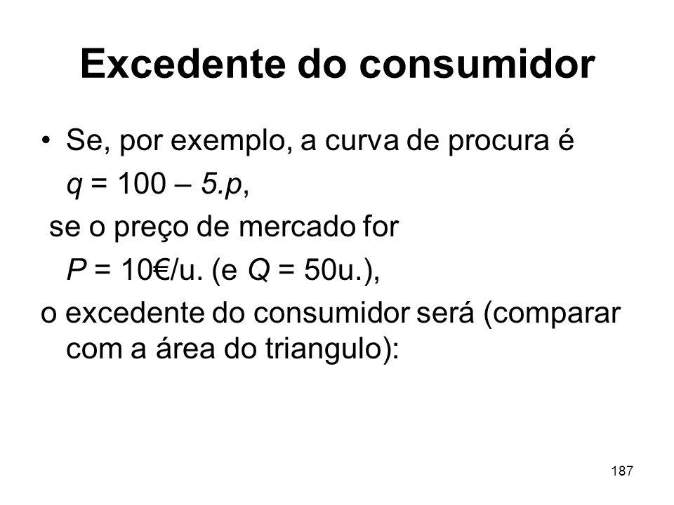 187 Excedente do consumidor Se, por exemplo, a curva de procura é q = 100 – 5.p, se o preço de mercado for P = 10/u. (e Q = 50u.), o excedente do cons