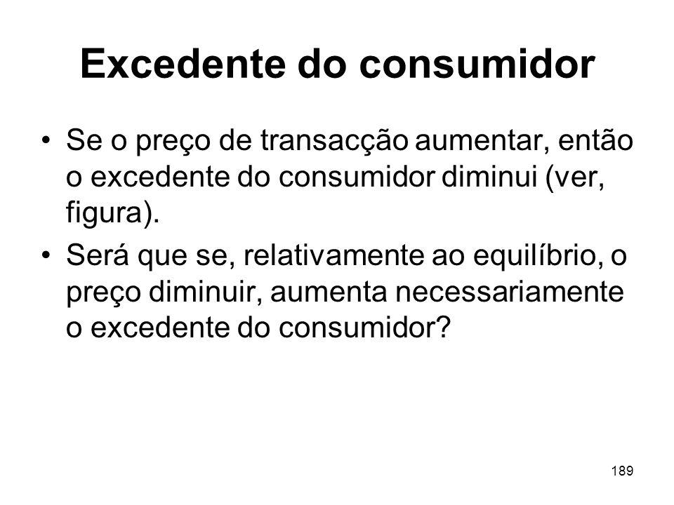 189 Excedente do consumidor Se o preço de transacção aumentar, então o excedente do consumidor diminui (ver, figura). Será que se, relativamente ao eq