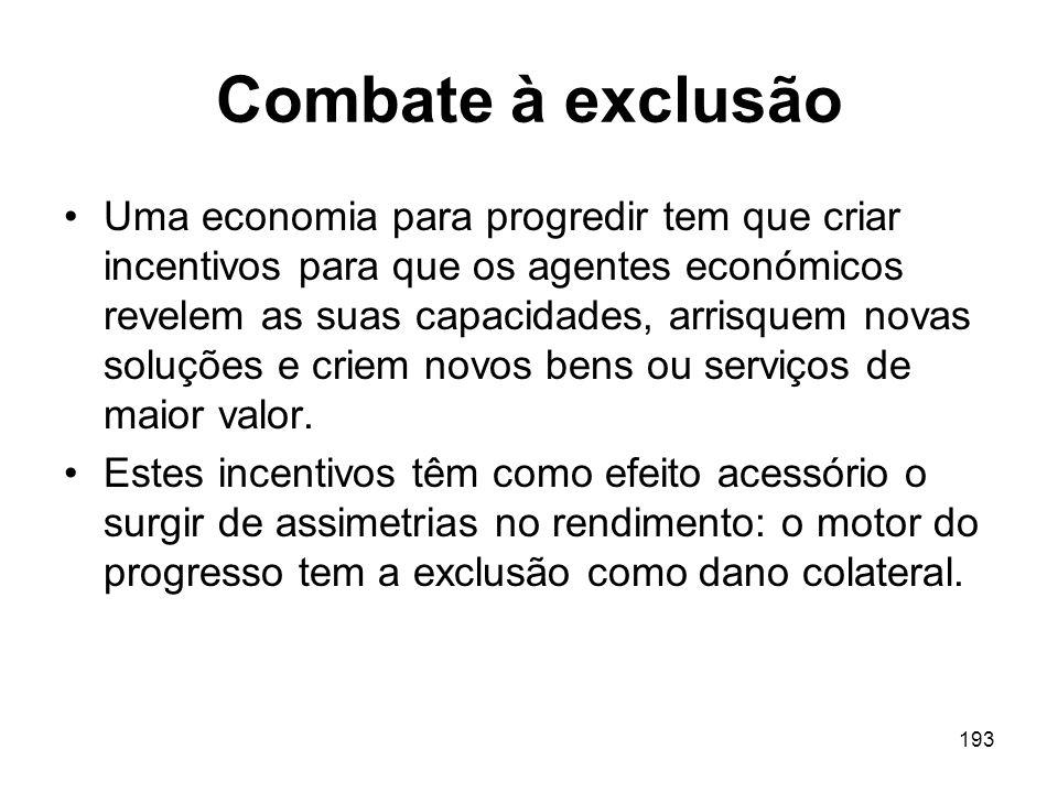 193 Combate à exclusão Uma economia para progredir tem que criar incentivos para que os agentes económicos revelem as suas capacidades, arrisquem nova