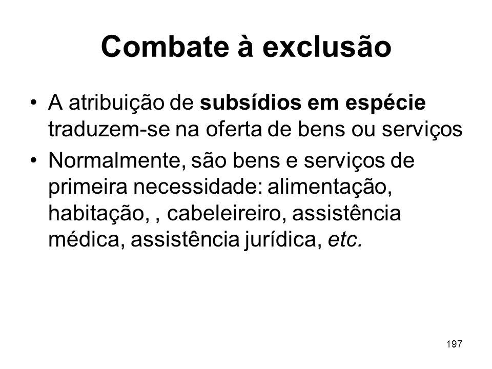 197 Combate à exclusão A atribuição de subsídios em espécie traduzem-se na oferta de bens ou serviços Normalmente, são bens e serviços de primeira nec