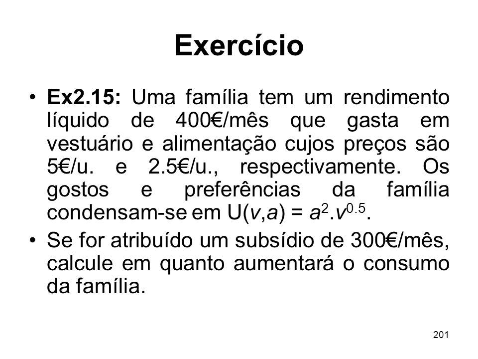 201 Exercício Ex2.15: Uma família tem um rendimento líquido de 400/mês que gasta em vestuário e alimentação cujos preços são 5/u. e 2.5/u., respectiva